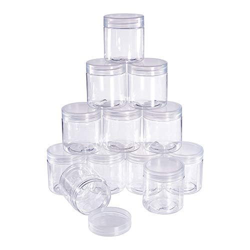 BENECREAT 12 Pack 2.4 Ounce Transparent Slime Storage Favor Jars Wide-Mouth Containers with Lids for DIY Slime,Ingredients,Party Favors and Other Crafts(2 x 2.2 - Favor Plastic Containers