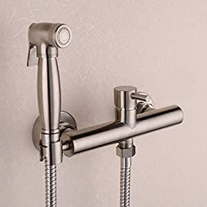 FidgetFidget Valve Toilet Bidet Sprayer Set Hot Cold Mixing -Strong Water,Nickel