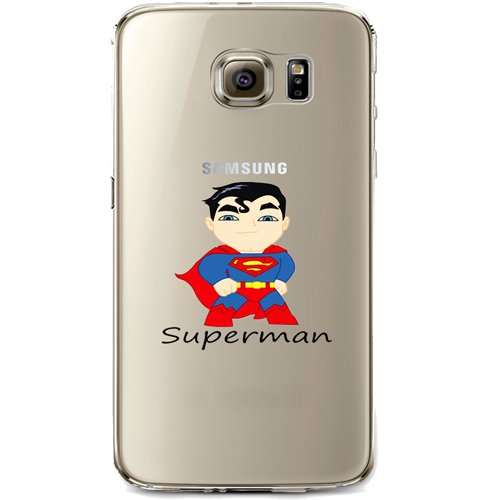 Batman, Catwoman, Harley Quinn, Wonder Woman, Superman, Spider Man, The Hulk, Deadpool Jelly Clear Case for Samsung Galaxy S7 EDGE (Superman)