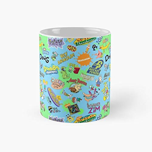 Nicktoons Hawaiian Print-a-Palooza! Mug, nicktoon Funny Mugs, 11 Ounce Ceramic Mug, Perfect Novelty Gift Mug, Tea Cups, Funny Coffee Mug 11oz, Tea Mugs -