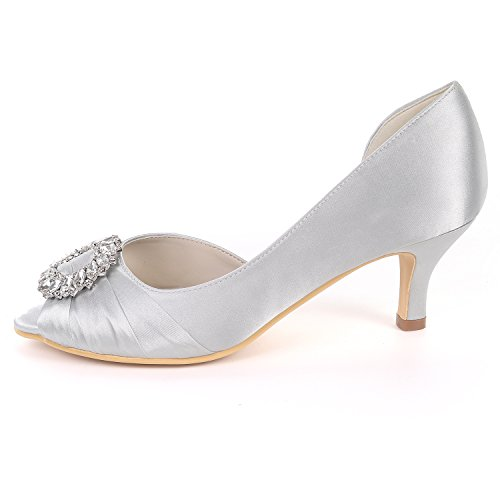 Heels EU37 Mujeres Bombas White Mid 08B UK4 Open Ager Shoes Flower Satin Sandals Toe Party Rhinestones Y1195 Wedding Court gqzxU