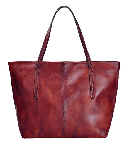 ZLYC Women Vintage Dip Dye Leather Tote Bag Handbag Large Zippered Shoulder Bag, Wine Red