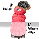 kyeese Dog Jacket Winter for Large Dogs with Leash Hole Reflective Windproof Dog Vest Hoodie Cold Weather Coats Fleece Lined