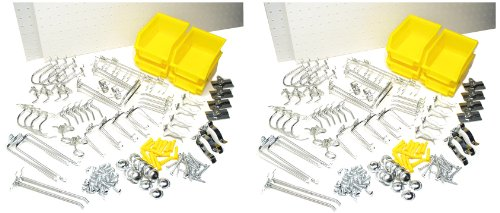 Triton Products DB-4KIT Four DuraBoard White Polypropylene Pegboards with 96 Piece DuraHook Assortment and Hanging Bin System and Wall Mounting Hardware