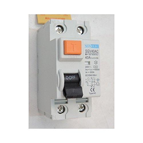 Interrupteur diff/érentiel 40A 2P 30mA type AC borne vis norme NF RCCB NOVELEC SGV40AC