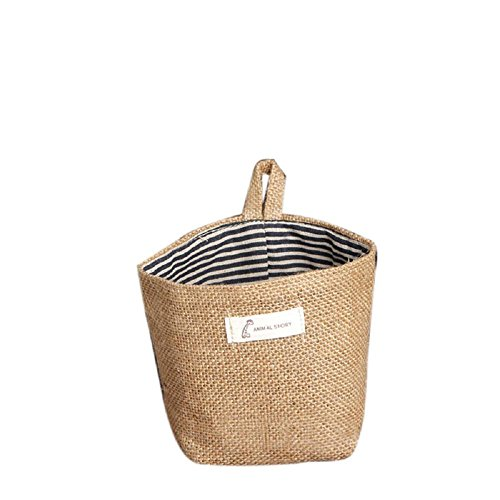 Storage Bag ,IEason Clearance Sale! Stripe Small Storage Sack Cloth Hanging Non Woven Storage Basket Bag (A)