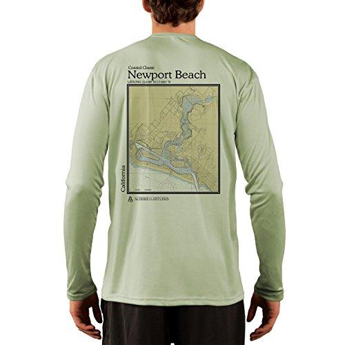 Beach Newport Green - Coastal Classics Newport Beach Chart Men's UPF 50+ Long Sleeve T-Shirt Large Sage