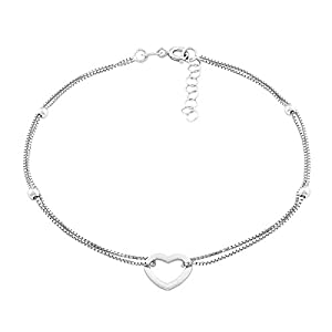 """Beaux Bijoux Sterling Silver Italian 9"""" + 1"""" Extension Double Strand Heart and Beads Anklet"""