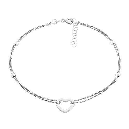 "Beaux Bijoux Sterling Silver Italian 9"" + 1"" Extension Double Strand Heart and Beads Anklet"