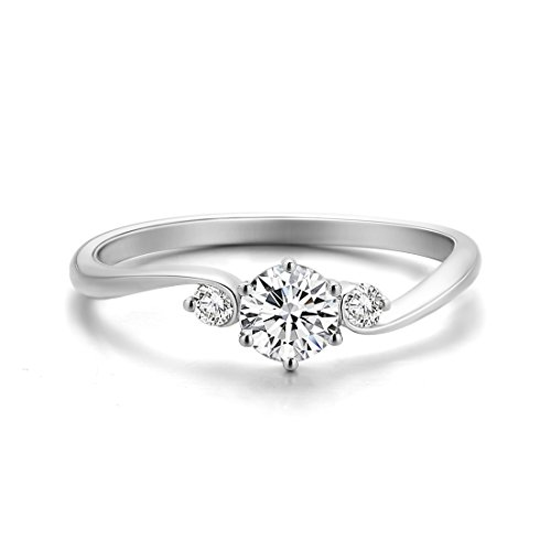 (Solid 18K White Gold Round Cut 0.3ct Diamond Women Rings Three Stone Diamond Engagement Ring for Women (0.371cttw, F-G Color, SI Clarity) Size 6)