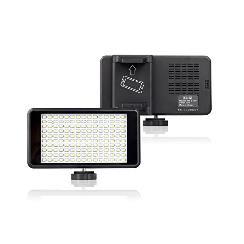 Meike S150 Panel LED Camera Video Lighting 150 Dimmable Lamp with in-Built Rechargeable Battery for Camcorder Camera and Smartphone ()