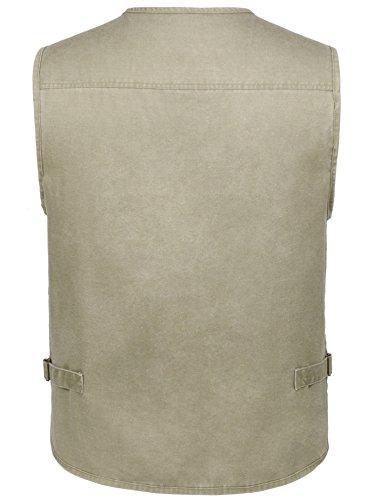 Eidlvais Men's Multi-Pockets Vest For Outdoors Travels Sports Khaki Size XL by Eidlvais (Image #2)