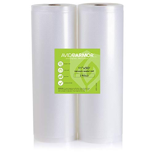 11x50 Vacuum Sealer Bags Roll. 2 Pack for Food Saver, Seal a Meal Vac Sealers Heavy Duty Commercial, BPA Free, Sous Vide Vaccume Safe, Cut to Size Storage Bag Rolls 100 Feet Embossed Avid Armor