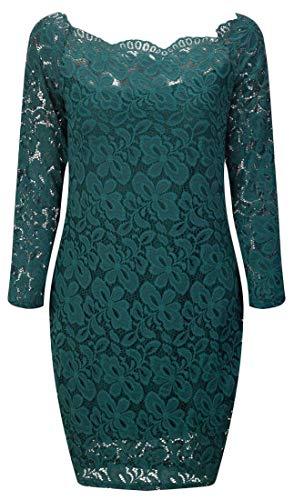 Domple Des Femmes De L'épaule De Manches Longues Robe De Soirée Moulante Cru Midi Club Vert