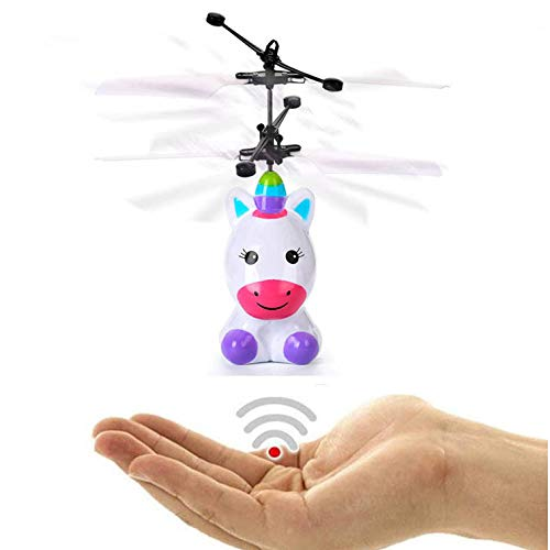 Mrocioa Flying Unicorn Toys Lights-up RC Robot Helicopter, Mini Drone Flying Fairy Toy Outdoor Indoor for Boys and Girls, Infrared ()