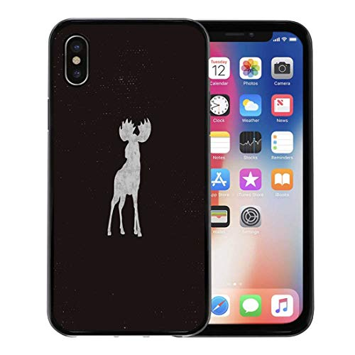 Pictogram Tee - Semtomn Phone Case for Apple iPhone Xs case,Silhouette Moose Letterpress Effect Retro Pictogram Infographics Tee Badge Deer for iPhone X Case,Rubber Border Protective Case,Black