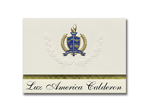 Signature Announcements Luz America Calderon (Carolina, PR) Graduation Announcements, Presidential style, Elite package of 25 with Gold & Blue Metallic Foil seal ()