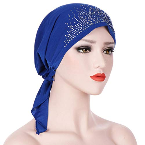 - AutumnFall Slip-On Pre-Tied Scarf - Chemo Scarves Women Cancer Hat 2018 (Blue)