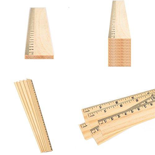 60 Pack Wooden Ruler 12 Inch Rulers Bulk Wood Measuring Ruler Office Ruler 2 Scale