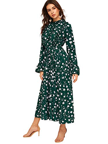 SOLY HUX Women's Ditsy Floral Print Flounce Sleeve Belted High Waist Elegant Dress