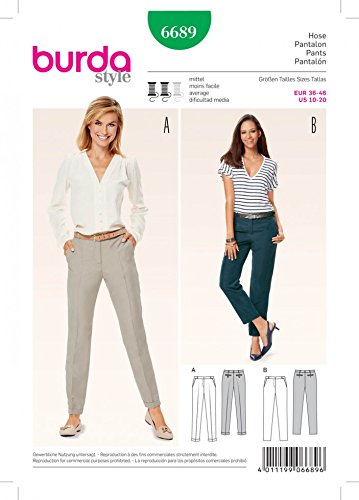 Burda Ladies Sewing Pattern 6689 Narrow Trouser Pants with Pockets