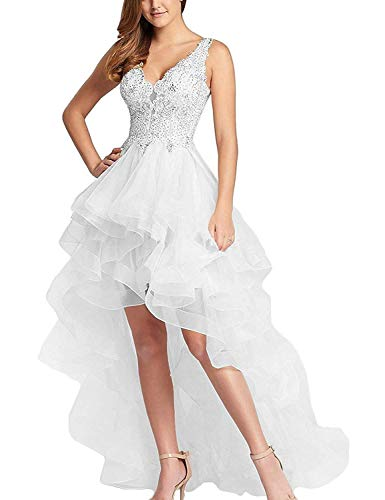 Women's Tulle High Low Homecoming Dresses 2019 Short Beaded Prom Gown for Juniors Size 18 White (Short Gown Beaded)