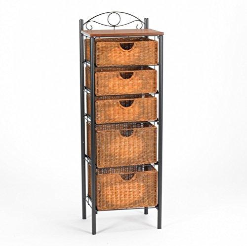 Celtic Bakers Iron and Abundant Wicker Baskets 5-Drawer Storage Solution Unit (Storage Unit Wicker Drawer)