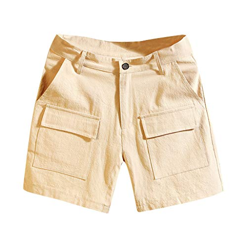 Leadmall Men's Casual Cargo Shorts - Men Summer Beach Solid Color Pocket Hiking Shorts Pants - Boys Relaxed Fit Indoor Outdoor Trousers