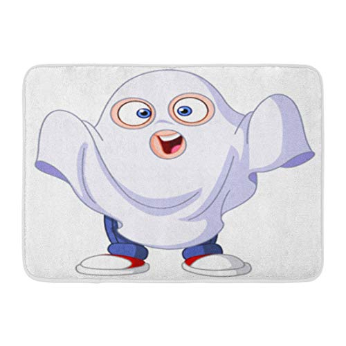 Emvency Bath Mat Boo White Character Cute Kid in Ghost Costume Celebrating Halloween Cartoon Boy Bathroom Decor Rug 16