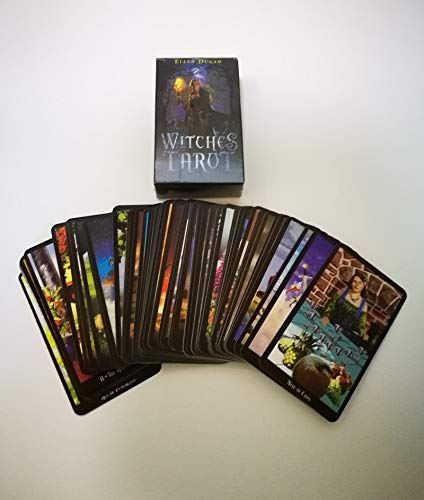 Beutique Newest Gold Witches Tarot Deck Cards Game Full English 78 Cards Mysterious Gilded Fortune Board Game -