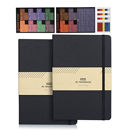 Classic College Ruled Notebooks Journals - Black A5 Hardcover Faux Leather Notebook for Business Men & Women, 5 x 8.25 Inch, 2 Pack (Hardcover College Ruled Journal)