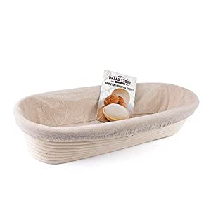 (35x15 cm) Oval Proofing Basket Set by Bread Story– Oval Banneton/Brotform Handmade Unbleached Natural Cane Bread Baking Kit with Cloth Liner - Course Discount, Coupon
