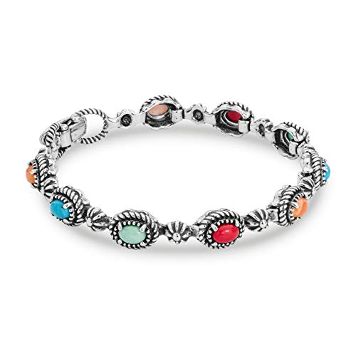Sterling Silver Multicolor Gemstone Link Bracelet - Medium