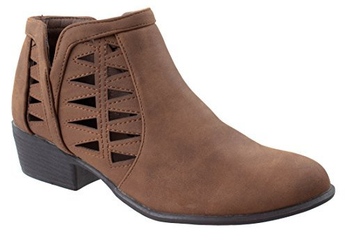 Top Moda Women's Gary-55 Tan Round Closed Toe Faux Low Heel Western Ankle Bootie with Decorative Cuts outs 8.5 D(M) US