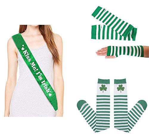 Fashionclubs St Patrick's Day Accessories, Saint Patricks Day Parade Costume Accessory Set Photo Booth Props Kit Party Favors Supplies, 3pcs - Kiss Me!I'm Irish Sash, Striped Arm Warmer&Tights ()