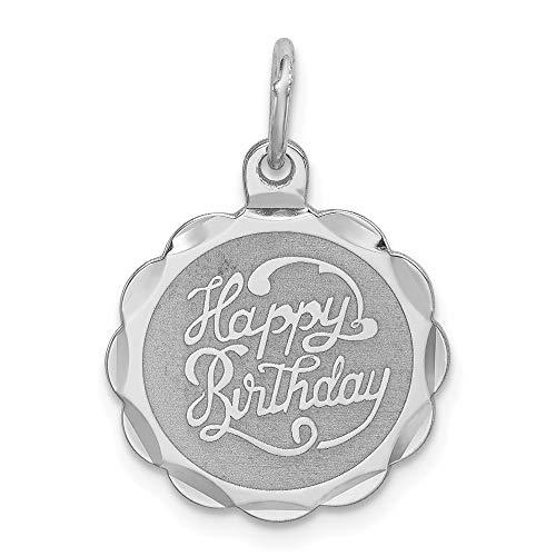 Mia Diamonds 925 Sterling Silver Happy Birthday Disc Charm (22mm x 15mm)