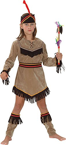 Indian Squaw Costume Child (Kid's Squaw American Native Fancy Dress Outfit Deluxe Indian Girl Costume Xl)