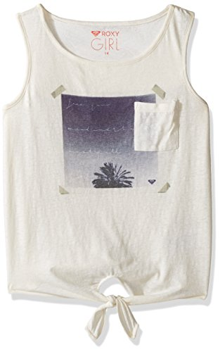 Roxy Big Girls' Key's Boarder Sunrise Palm Tank Top, Marshmallow, 14 Roxy Apparel