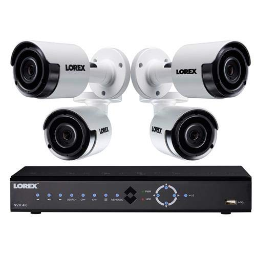 Lorex 8-Channel, 4-Camera Indoor/Outdoor Wired 4MP 2TB NVR Surveillance System Black/White LNK71082T45B