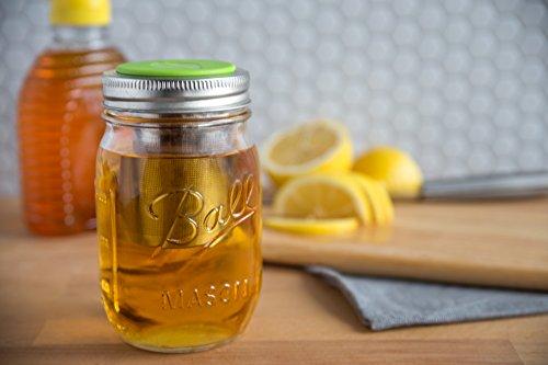 Jarware 82621 Tea Infuser Lid for Regular Mouth Mason Jars, Green