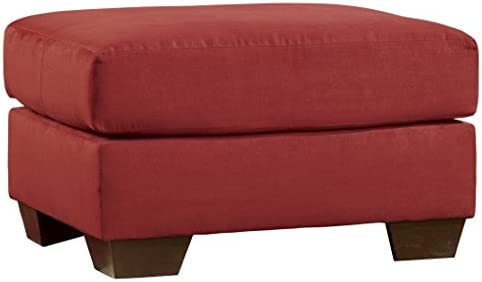 Signature Design by Ashley – Darcy Ultra Soft Upholstery Ottoman, Salsa Red Red