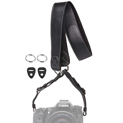 Inspire in Time Black Camera Neck Strap - Genuine Leather with Adjustable Straps and Universal Interfaces | for Mirrorless and DSLR Cameras, Nikon, Canon, Sony, Olympus, Panasonic, Fuji & More