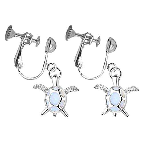 Silver Plated Sea Turtle Clip on Dangle Earrings Tortoise Opal Stone for Kids Girls Women
