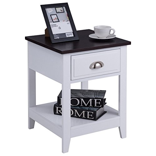 Custpromo Nightstand Accent Table End Beside Coffee Table with Drawer and cabinet for storage by Custpromo