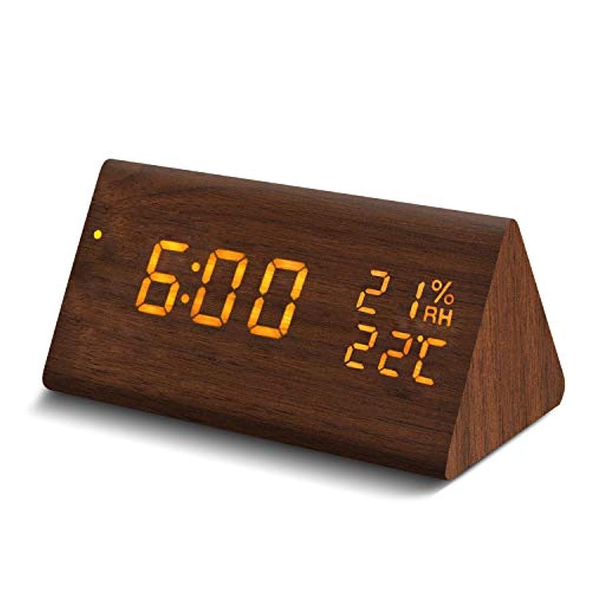 [해외] GALOPAR 자명종 탁상시계 LED 다기능 알람 디지털 시계 우드 그레인 대음량 음성 감지 디지털 온도계 습도계 USB/전지급 전에너지 절약 브라운