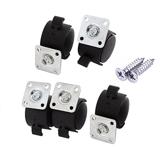 "Caster Wheel, 5Pcs 1.5"" Wheel Square Plate Mount Swivel Brake Rotary Caster Plastic 360 Degree Rotation with Installing Screws (1.5 inch) (Plastic Top Plate)"