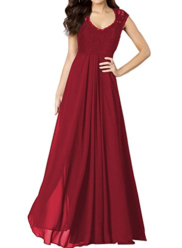 Miusol? Women's Casual Deep- V Neck Sleeveless Vintage Maxi Black Dress (3193) (Small, Red)