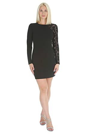 d18121ac5de bebe Women s Little Black Dress with Long One Lace Sleeve at Amazon Women s  Clothing store