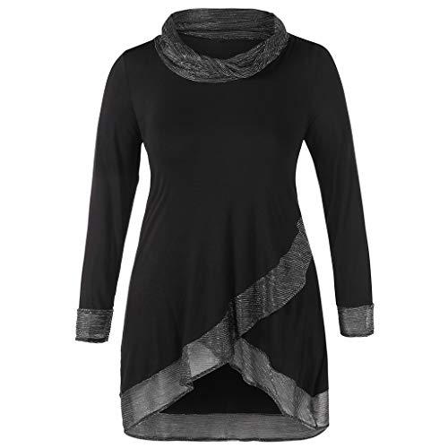 POQOQ Autumn Blouse Womens Casual Plus Size Cowl Neck Metallic Thread Top Shirt(Black,5XL)]()