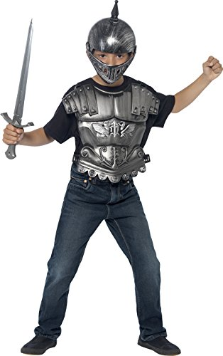 [Smiffy's Kids Medieval Armor Set, Helmet, Sword, Breastplate, Silver, One Size, 20546] (Shining Knight Costumes)